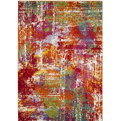 Christy Orange/Red Area Rug Rug Size: Runner 22 x 8