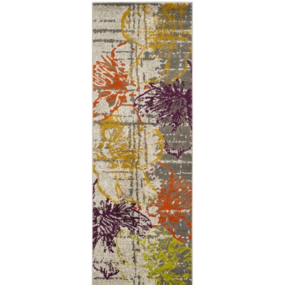 Nanette Ivory/Gray Area Rug Rug Size: Runner 24 x 11