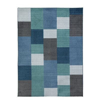 Jeremiah Blue Blocks Area Rug Rug Size: 5 x 7