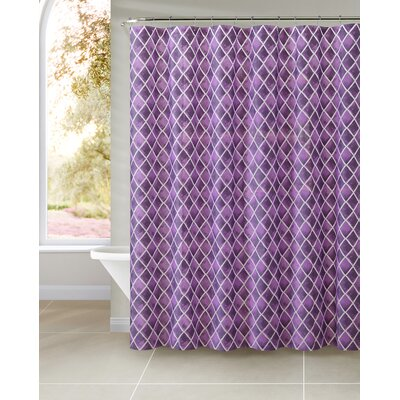Beverley Watercolor Diamond Shower Curtain Color: Teal