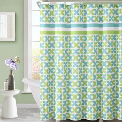 Bill Shower Curtain Color: Green / Blue
