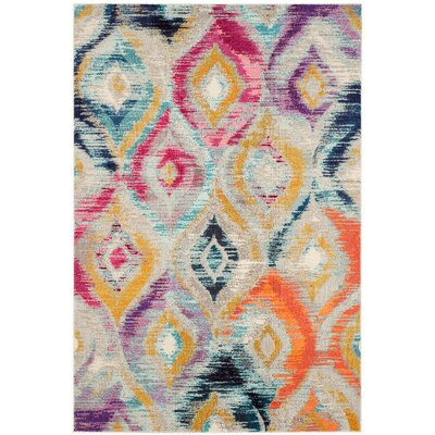 Goose Point Orange/Yellow Area Rug Rug Size: 51 x 77