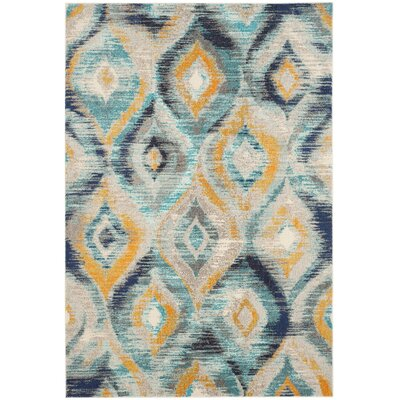 Goose Point Blue/Yellow Area Rug Rug Size: 51 x 77