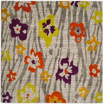 Nanette Gray/Orange/Purple Area Rug Rug Size: Square 67