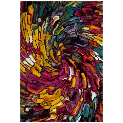 Cleveland Pink/Yellow Area Rug Rug Size: Rectangle 9 x 12