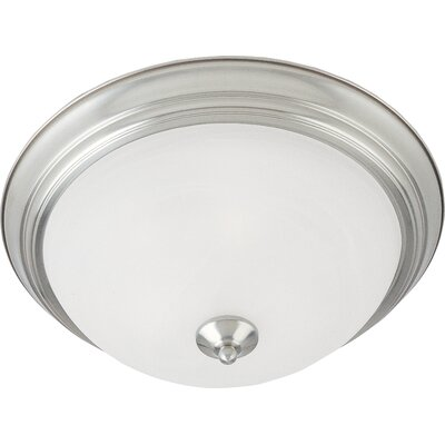 Brenden 2-Light Contemporary Flush Mount Finish: Satin Nickel, Glass: Ice