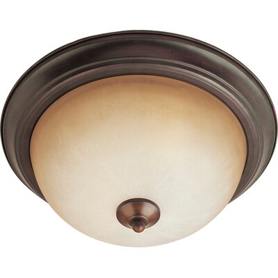 Brenden 2-Light Contemporary Flush Mount Finish: Oil Rubbed Bronze, Glass: Wilshire