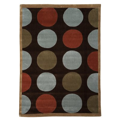 Beaded Geometric Hand-Tufted Brown Area Rug Rug Size: 8 x 10