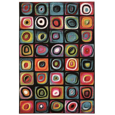 Bee Black Area Rug Rug Size: Rectangle 5 x 76