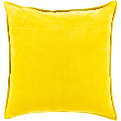 Carey Velvet Pillow Cover Size: 22 H x 22 W x 1 D, Color: Yellow