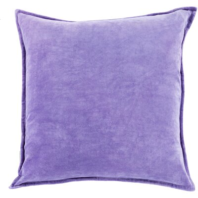 Carey 100% Cotton Velvet Throw Pillow Cover Size: 22 H x 22 W x 1 D, Color: Purple