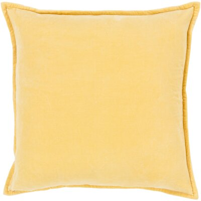 Carey 100% Cotton Velvet Throw Pillow Cover Size: 20 H x 20 W x 1 D, Color: Bright Yellow