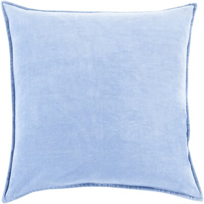 Carey 100% Cotton Velvet Throw Pillow Cover Size: 18 H x 18 W x 0.25 D, Color: Bright Blue