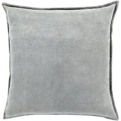 Carey 100% Cotton Velvet Throw Pillow Cover Size: 18 H x 18 W x 0.25 D, Color: Gray