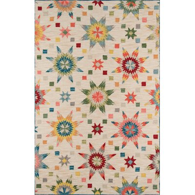 Arroyo Ivory/Green Area Rug Rug Size: Rectangle 5 x 76