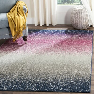 Cleta Fuchsia/Navy Area Rug Rug Size: Rectangle 67 x 92
