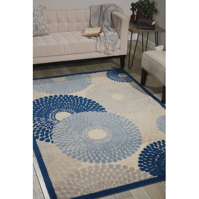 Jackie Ivory/Blue Area Rug Rug Size: Rectangle 53 x 75