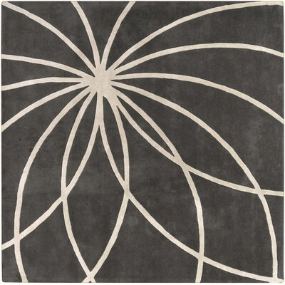 Dewald Iron Ore/Antique White Area Rug Rug Size: Square 4