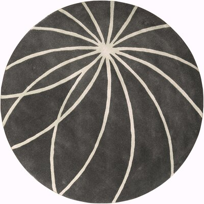 Dean Iron Ore/Antique White Area Rug Rug Size: Round 6