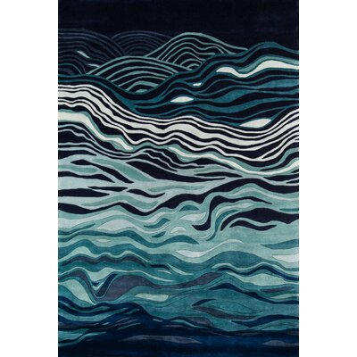 New Wave Hand-Tufted Navy Area Rug Rug Size: Rectangle 53 x 8