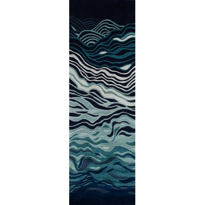 New Wave Hand-Tufted Navy Area Rug Rug Size: Runner 26 x 8