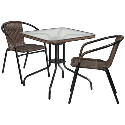 Nathaniel 3 Piece Bistro Set Finish: Dark Brown