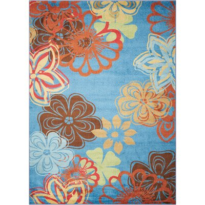 Deschamps Blue/Brown Area Rug Rug Size: 53 x 75
