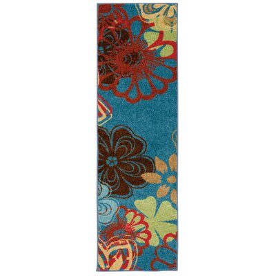 Deschamps Blue/Brown Area Rug Rug Size: Runner 23 x 76