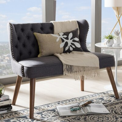 Sempronius Wood Upholstered Button-Tufting Loveseat Color: Dark Gray