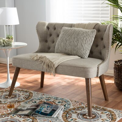 Sempronius Wood Upholstered Button-Tufting Loveseat Color: Light Beige