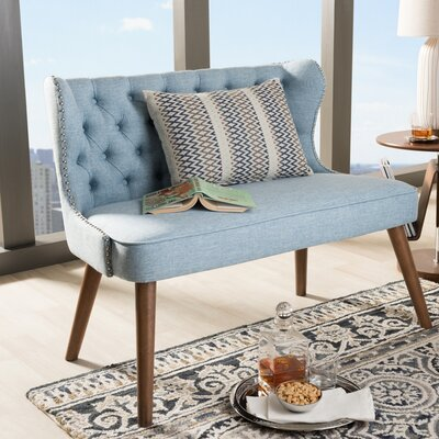 Sempronius Wood Upholstered Button-Tufting Loveseat Upholstery: Light Blue