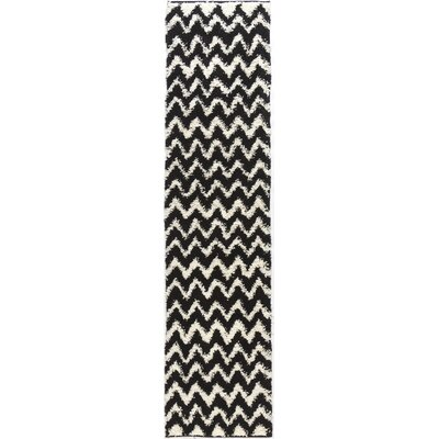 Dante Passion Chevron Black Rug Rug Size: Runner 18 x 72