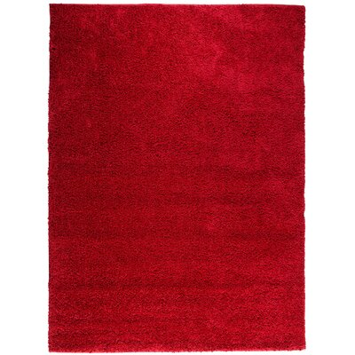 Reynolds Plain Solid Red Shag Area Rug Rug Size: 33 x 53