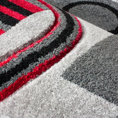 Dawson Galaxy Waves Grey & Red Area Rug Rug Size: Rectangle 93 x 126