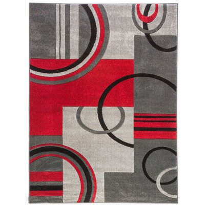 Dawson Galaxy Waves Grey & Red Area Rug Rug Size: Rectangle 53 x 73