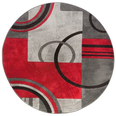 Dawson Galaxy Waves Grey & Red Area Rug Rug Size: Round 53