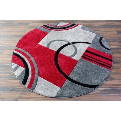 Dawson Galaxy Waves Grey & Red Area Rug Rug Size: Round 53