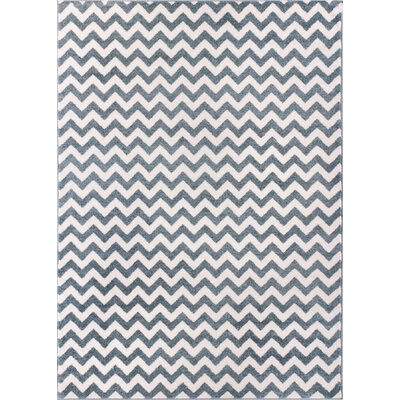 Dax Chevron Light Blue/Ivory Area Rug Rug Size: 710 x 106