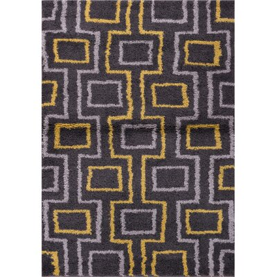 Reynolds Black/Yellow Area Rug Rug Size: 33 x 53