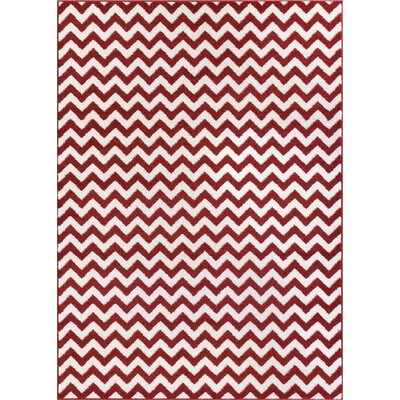 Dax Chevron Rust/White Area Rug Rug Size: 53 x 73