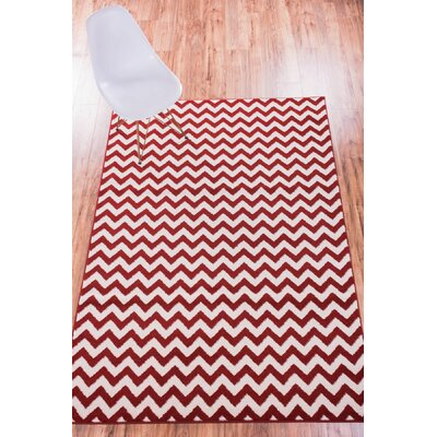 Burgess Chevron Red/White Area Rug Rug Size: Oval 27 x 42