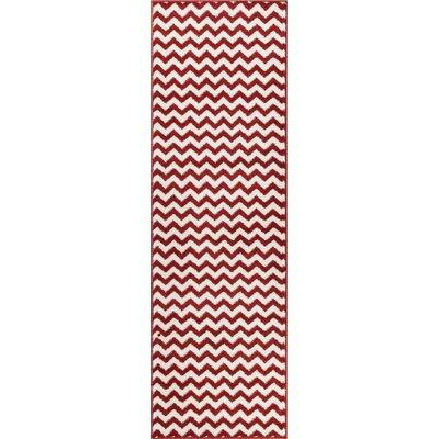 Dax Chevron Rust/White Area Rug Rug Size: Runner 23 x 73