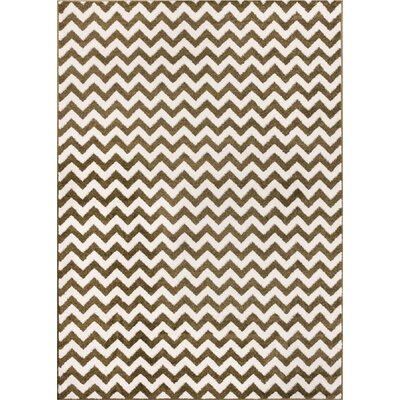 Burgess Chevron Green/White Area Rug Rug Size: Rectangle 33 x 47