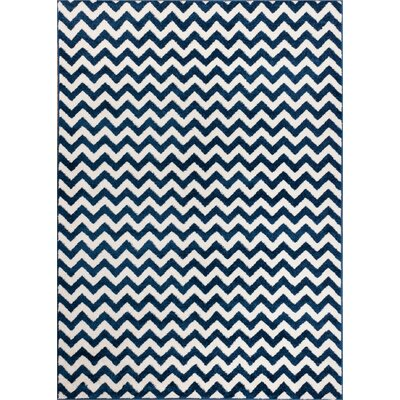 Dax Chevron Dark Blue/White Area Rug Rug Size: 710 x 106