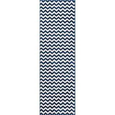 Burgess Chevron Dark Blue/White Area Rug Rug Size: Runner 23 x 73