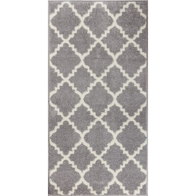 Dax Lattice Gray & White Area Rug Rug Size: 33 x 47
