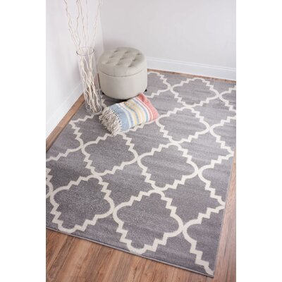 Dax Lattice Gray Area Rug Rug Size: Round 53