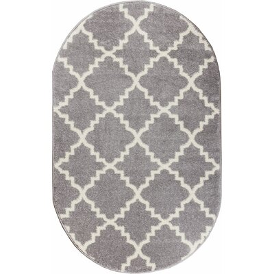 Dax Lattice Gray & White Area Rug Rug Size: Oval 27 x 42