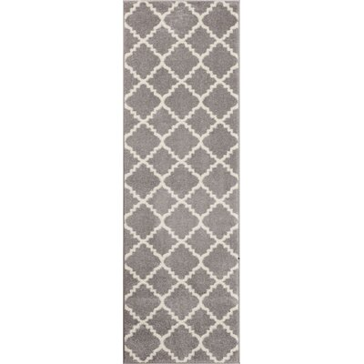 Dax Lattice Gray & White Area Rug Rug Size: Runner 23 x 73