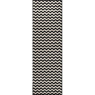 Dax Chevron Black/White Area Rug Rug Size: Runner 23 x 73
